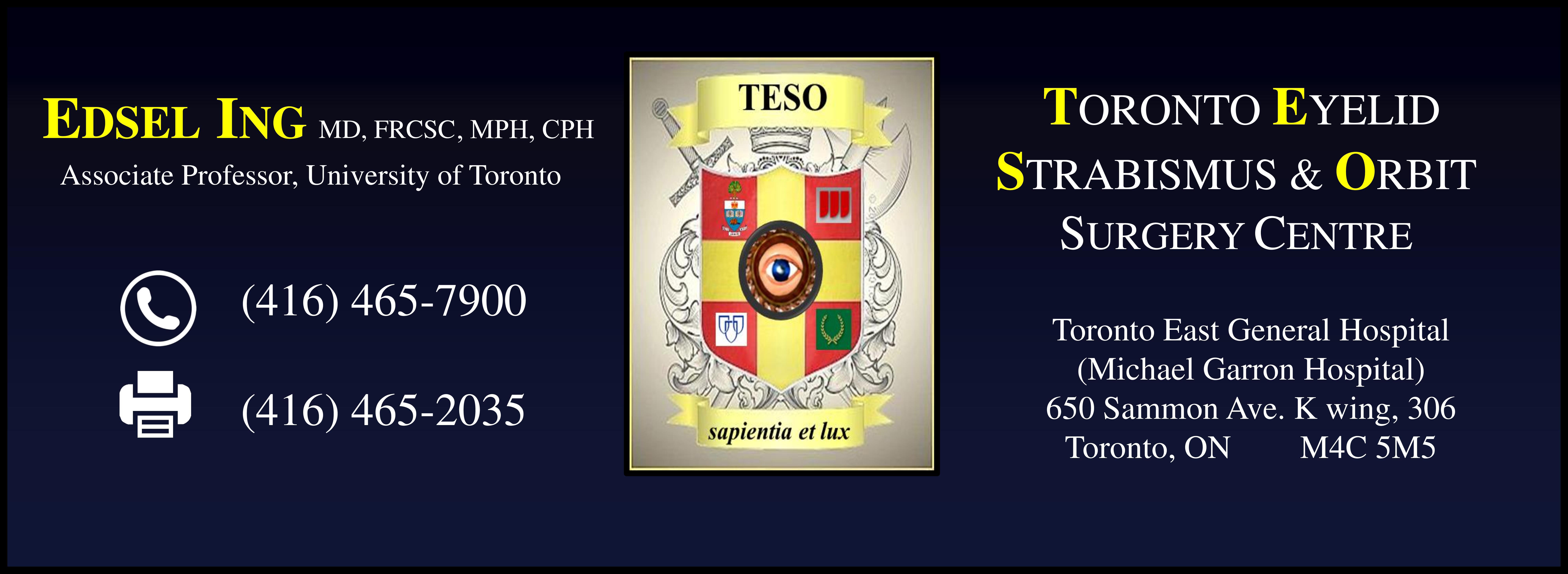 Edsel Ing: Toronto Eyelid Strabismus & Orbit Surgery Centre